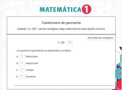 Matemática 1 - Cuestionario de geometría