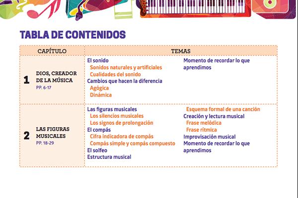 Tabla de contenidos - Música 4